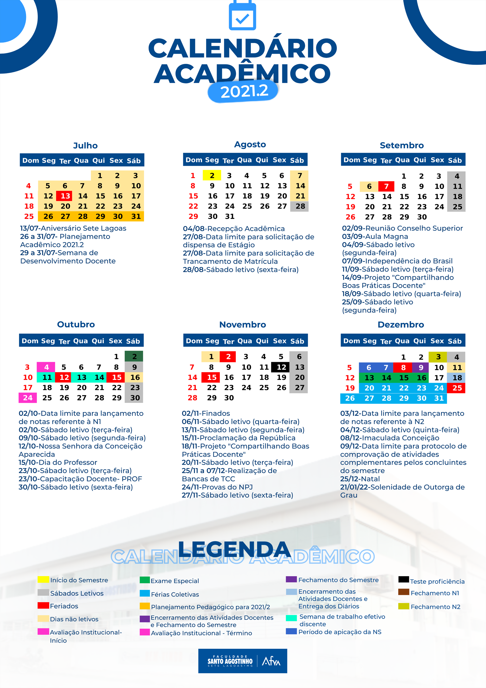Calendário Acadêmico 2021/2
